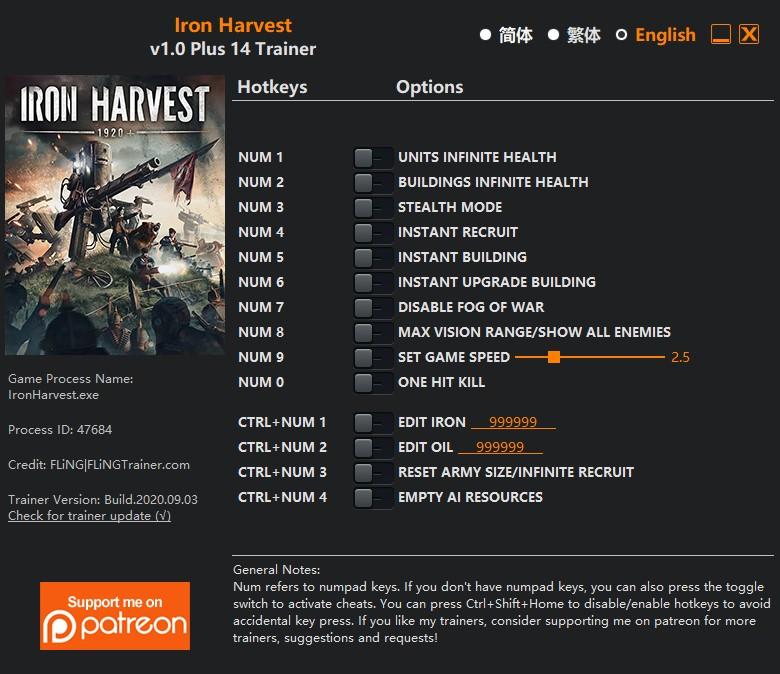 скачать Iron Harvest: +14 трейнер v1.0 {FLiNG}