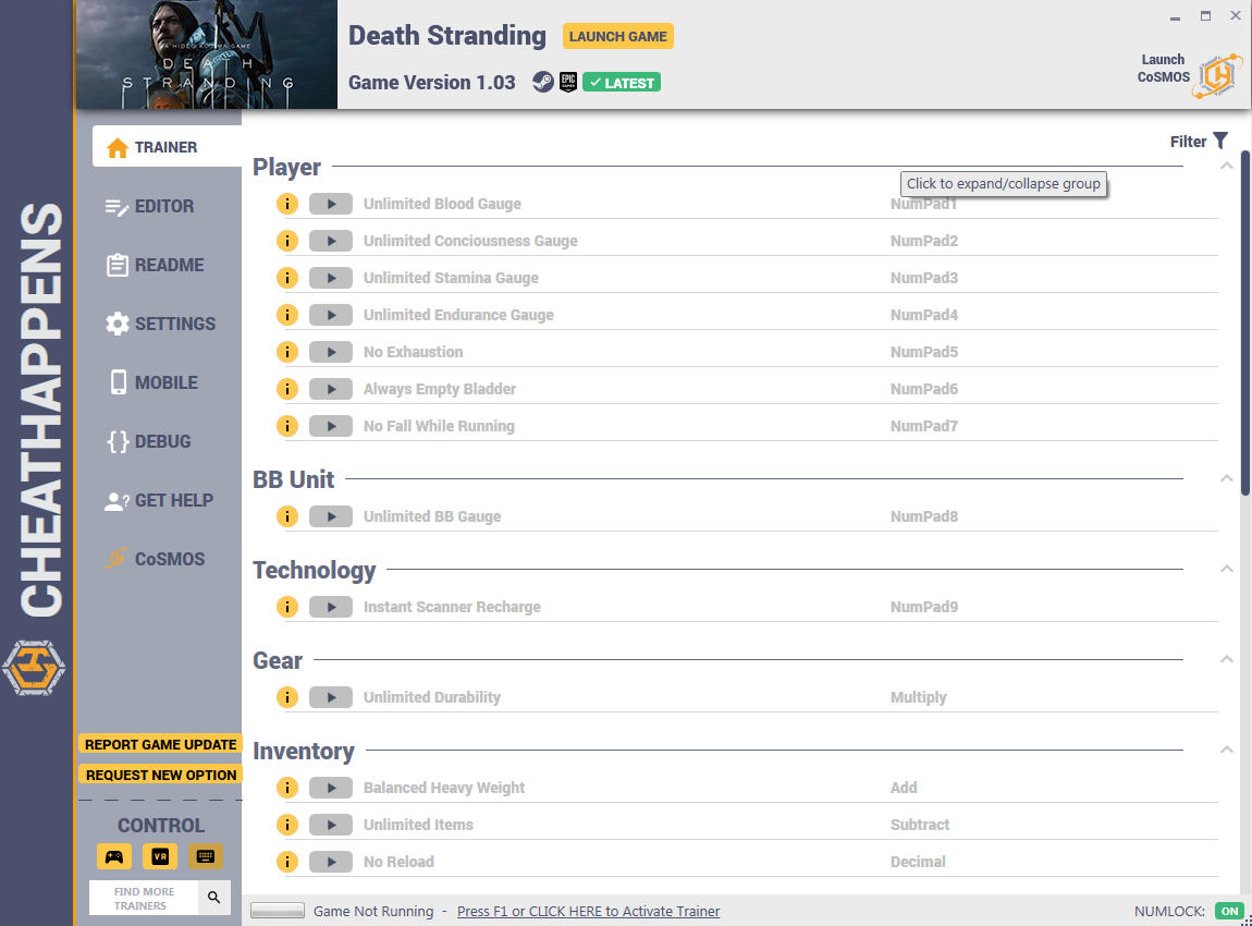 скачать Death Stranding: +30 трейнер v1.03 (STEAM+EPIC) {CheatHappens.com}