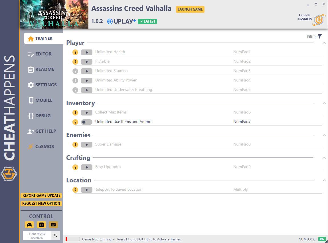 скачать Assassin's Creed: Valhalla +13 трейнер v1.0.2 (UPLAY+UBISOFT PLUS) {CheatHappens.com}