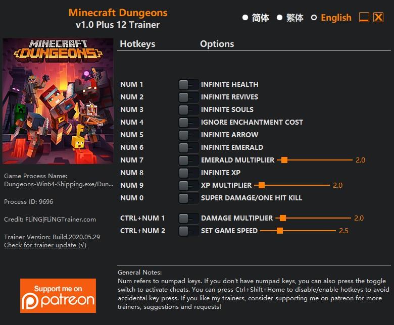 скачать Minecraft Dungeons: +12 трейнер v1.0 {FLiNG}