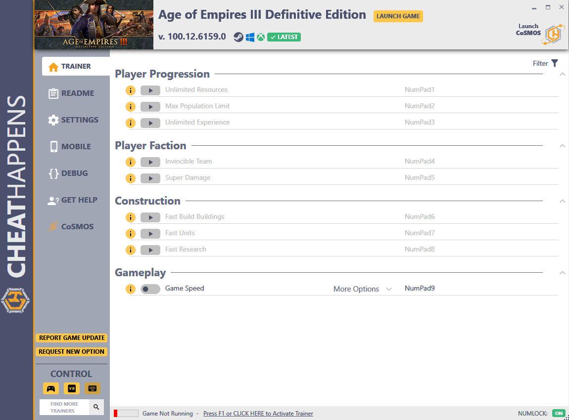 скачать Age of Empires III: Definitive Edition - +9 трейнер v100.12.6159.0 (STEAM+GAMEPASS) {CheatHappens.com}