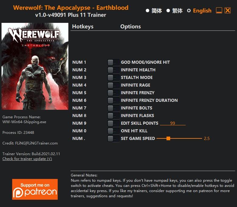 скачать Werewolf: The Apocalypse – Earthblood: +11 трейнер v1.0-v49091 {FLiNG}