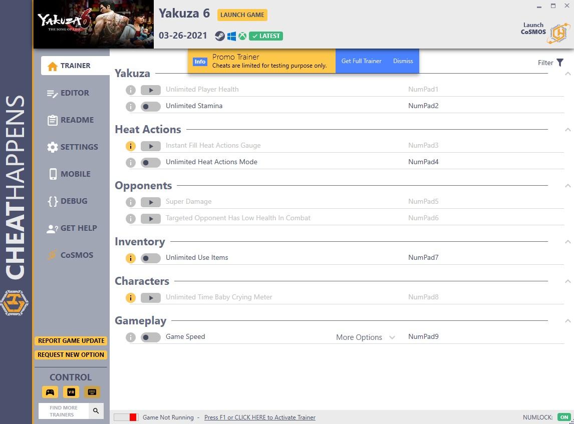 скачать Yakuza 6: +16 трейнер (STEAM+GAMEPASS) {CheatHappens.com}