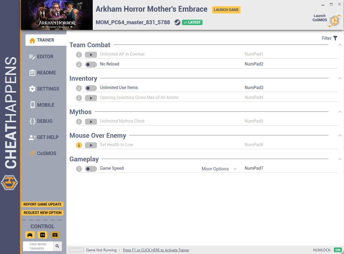 скачать Arkham Horror: Mother's Embrace +13 трейнер MOM_PC64 master_831_5788 {CheatHappens.com}
