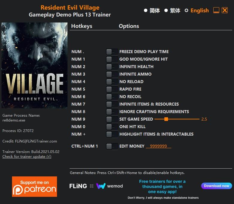 скачать Resident Evil Village: +16 трейнер геймплей демо {FLiNG}