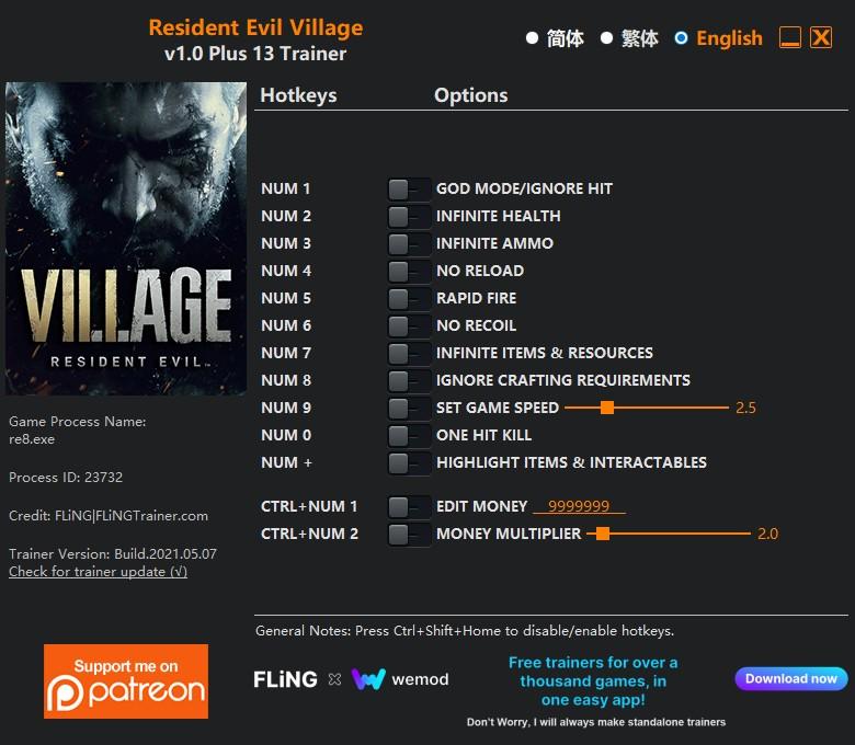 скачать Resident Evil Village: +13 трейнер v1.0 {FLiNG}