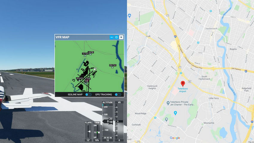 Найти место на Google Картах в Microsoft Flight Simulator
