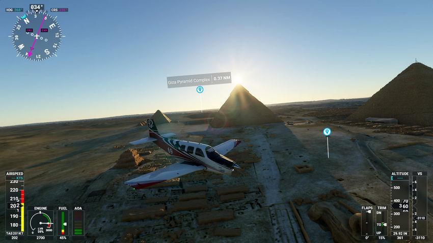 Полет над пирамидами в Microsoft Flight Simulator