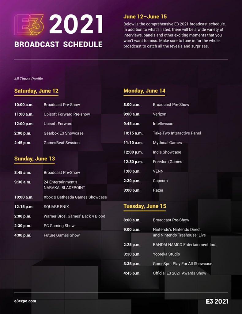 Расписание E3 2021